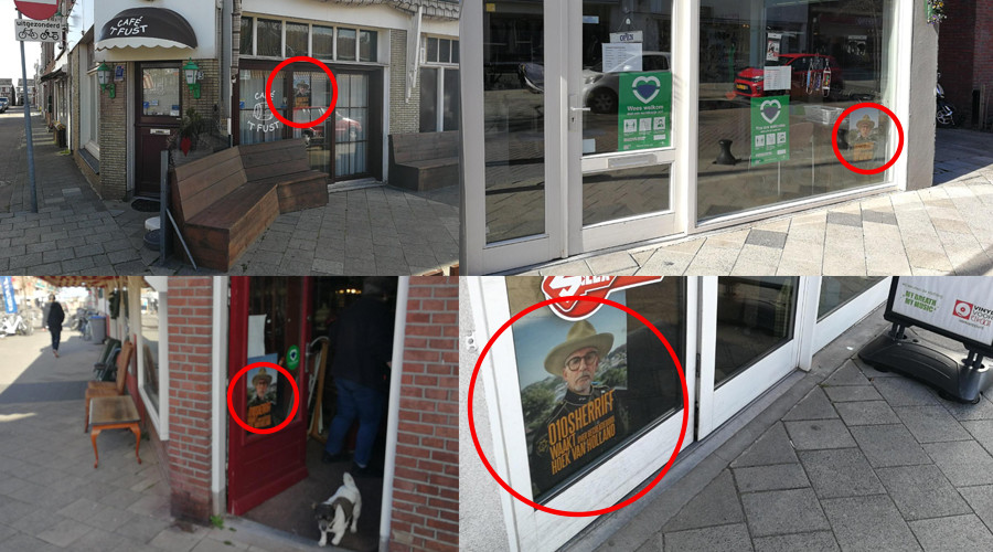 Poster boze sheriff op winkelruiten in Hoek van Holland