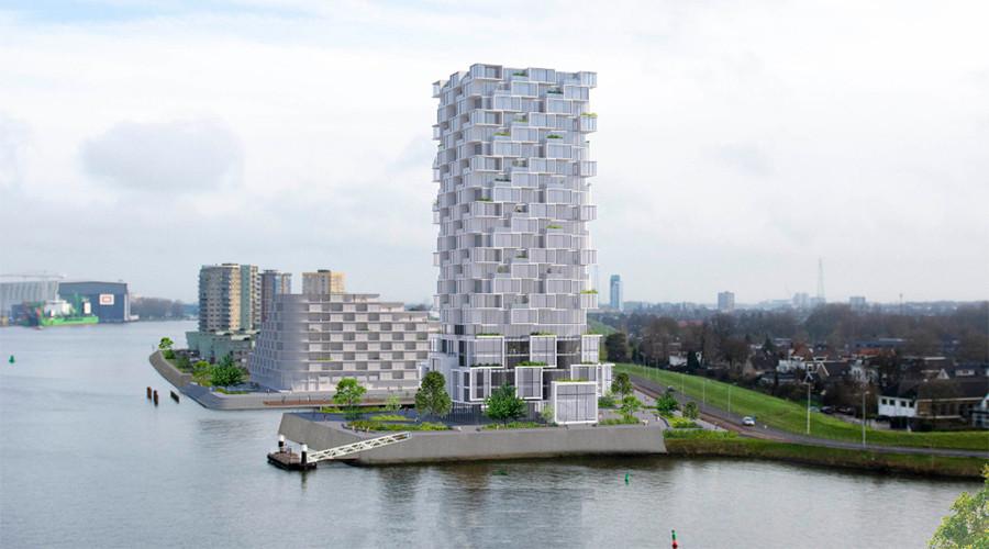 Achter de Waterside-toren IJsselmonde wordt het 10 hoog